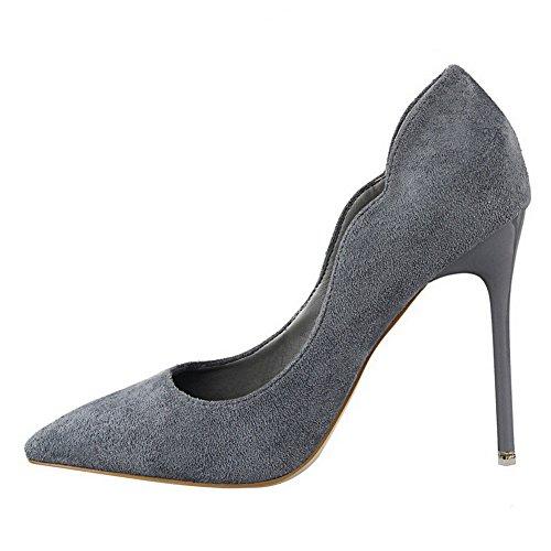 AalarDom Femme Dépolissement Stylet Pointu Tire Chaussures Légeres Gris-10.5CM
