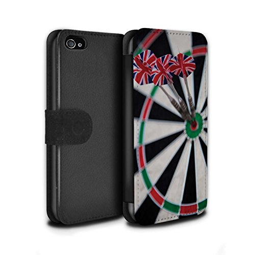 Stuff4 Coque/Etui/Housse Cuir PU Case/Cover pour Apple iPhone 4/4S / Pack 7pcs Design / Fléchettes Photo Collection Tripler bullseye