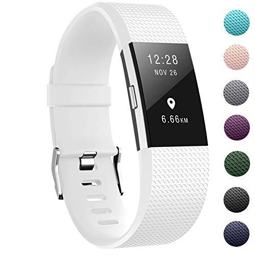 """Zekapu pour Fitbit Charge 2 Bracelet, Charge 2 Sangle réglable Sport Remplacement Bracelet avec Boucle en Acier Inoxydable Classique pour Fitbit Charge2, Petit (5.5""""- 6.7"""") Blanc"""