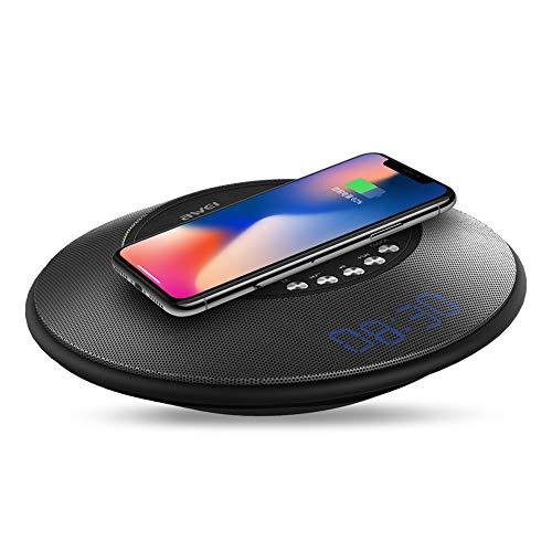 chlliacrow AWEI Dimension Y290 Drahtloses Laden Bluetooth Lautsprecher Karte FM Bluetooth Audio, Tragbar Kabellos Stereo Bass Ladestation Sound Boom Box Lautsprecher Kabelloses Ladegerät Grey