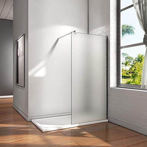 100x200cm Walk in Dusche Duschwand Duschabtrennung 10mm Nano Milchglas frosted Glas Trennwand mit 140cm Stabilisierungsstange