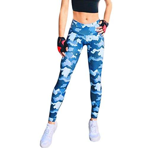 Yoga Hosen Damen, DoraMe Frauen Farbdruck Sportlichen Hose Hohe Taille Yoga Fitness Leggings (L, Blau) (Shorts Activewear-sportliche)