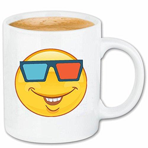 Reifen-Markt Kaffeetasse LUSTIGER Smiley MIT 3D Brille Smileys Smilies Android iPhone Emoticons IOS GRINSE Gesicht Emoticon APP Keramik 330 ml in Weiß