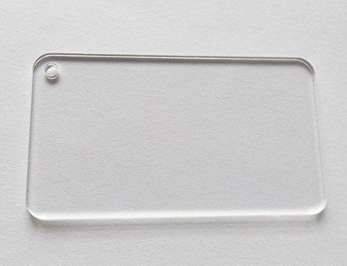 7,6cm blanko Rechteck klar Acryl Tags rund Rand Hochzeit Schlüssel Kette sparen Datum 100/lot