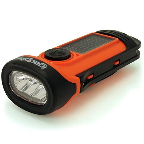igadgitz Xtra Lampe Torche LED Rechargeable Solaire & Manivelle Étancheà 5m avec 5 Ans de Garantie