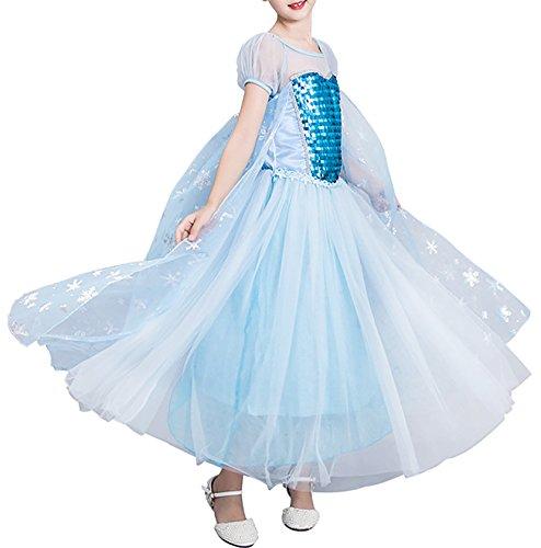 FStory&Winyee Kinder Eiskönigin ELSA Cosplay Kostüm Mädchen Prinzessin Blau Tutu Kleid mit Umhang Karneval Party Verkleidung Halloween Fest