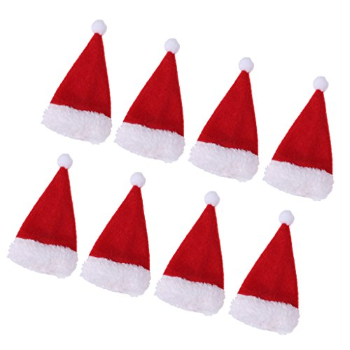 MagiDeal 8pcs Red Christmas Champagne Beer Wine Bottle Wrap Cutlery Covers Santa Hat Xmas Tableware Household Home Decorations