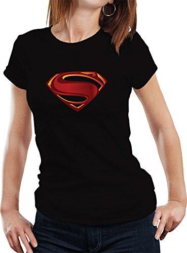 Fanideaz Branded Round Neck Cotton 3D Superman Tees for Women_Black_M