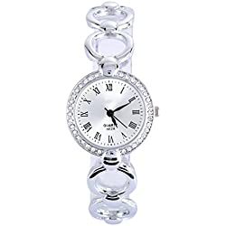Amazmall Women Lady Stainless Steel Crystal Dial Quartz Analog Wrist Watch Silver