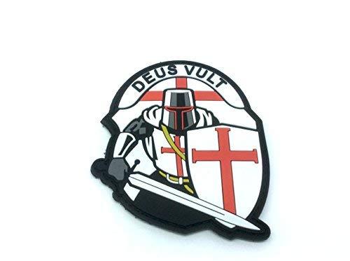 Crusader 'DEUS VULT ' Knights Templar Morale Patch PVC Airsoft Paintball Klett Emblem Abzeichen