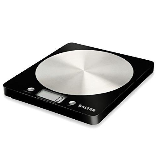 SALTER Digitale Küchenwaage mit Edelstahl Plattform, Elektronische Waage für die Küche, Wiegen von Lebensmitteln mit einer Kapazität von 5kg, Flüssigkeiten in ml + fl. Oz.