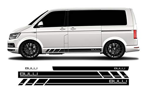 WRAP-SKIN Seitenstreifen Set Bulli passend für VW T4 T5 T6 Seitenaufkleber Aufkleber WS-03-08-10004 070 Schwarz Glanz