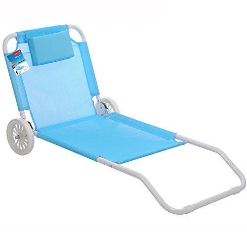6585e74d224708 Pro Beach Chaise Longue De Plage Pliable 2 Roues - Bain De Soleil - Azur  (