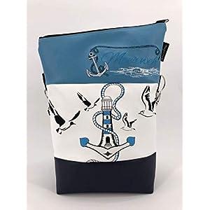 Handtasche Meerweh Maritim Anker Lecuhtturm blau Tasche Foldover Schultertasche