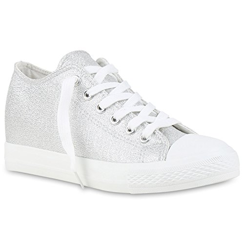 stiefelparadies Damen Sneaker Wedges Keilabsatz Sneakers Glitzer Zipper Wedge Turn Metallic Schuhe 123493 Silber Glanz 38 Flandell