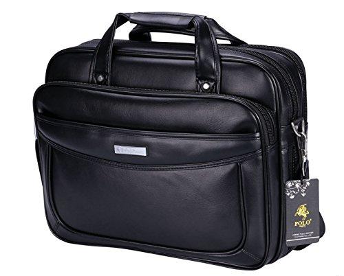 Tasche, Aktentasche Aus Leder (VIDENG POLO Verlängerte 15,6 Zoll Leder Aktentasche Laptop Taschen Geschäft Messenger Tasche Herren Handtasche (C1) (Schwarz))