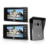 1Byone Visiophone Couleurs - 2 x Moniteur Ecran Vidéo 7-Pouce et Caméra HD avec 125 cm de Câbles, 1 x Sonnette d'Extérieure Visuelle - 2 Câbles Vidéo Système Intercom