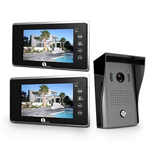 1byone Videocitofono a 2 Cavi, Citofono Interfono Schermo a Colori da 7 pollici Videocitofono con Camera HD e Cavo da 49ft (15m), Campanello per Montaggio in Esterno