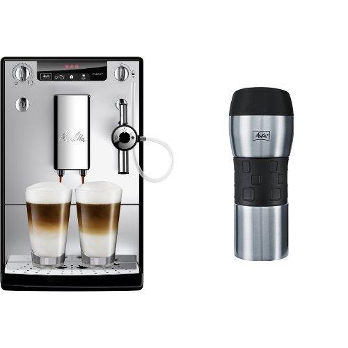 Melitta E 957-103 Kaffeevollautomat Caffeo Solo & Perfekt Milk (Cappuccinatore) silber + Melitta 206056 IsolierTrinkbecher