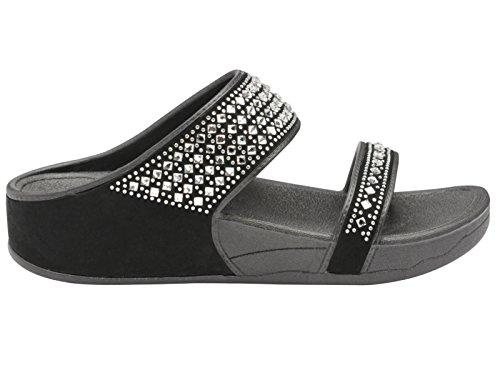 Foster Footwear Damen Pantoletten, Schwarz - Schwarz - Größe: 39