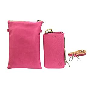 Jo Jo A7 Zara Sr Nillofer Leather Wallet sling Bag clutch Pouch Mobile Phone Case Cover For Alcatel One Touch Pixi 4(6) Pink