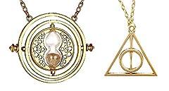 Idea Regalo - Inception Pro Infinite Set di Due Collane Mago Harry - Clessidra Girevole Giratempo e Triangolo Doni della Morte - Colore Oro