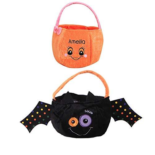 BJ-SHOP Halloween Süßigkeiten Tasche, Trick or Treat Süßigkeit Taschen 2 Pack Durable Kinder Kürbis Taschen Party Tragetaschen für Kinder Kleinkinder Jungen ()