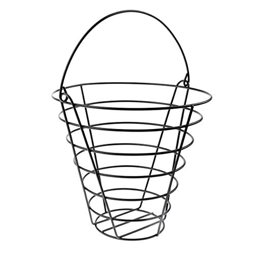 SGerste Metall Golf Ball Korb Golf Übungsbälle Container, schwarz, Speichern können 50Kugeln (Golf Bälle sind Nicht im Lieferumfang enthalten) -