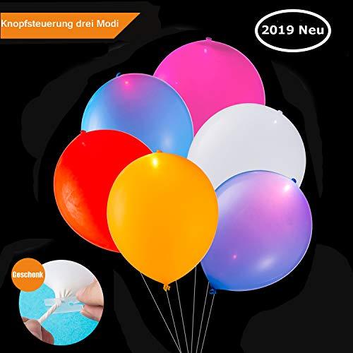 TECHSHARE LED Luftballons Bunt, LED Leuchten Ballon, Luftballons Party 30 Stück Mischfarbe für Hochzeit Geburtstag Weihnachten Fasching Valentinstag Party Deko (LED-Ballon mit Schalter) (Kinder Halloween Alte Leute Kostüm)