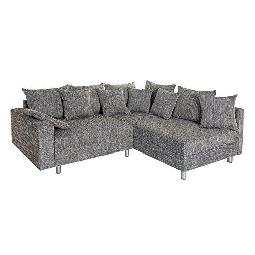 Design Ecksofa LOFT grau Strukturstoff Federkern Sofa OT beidseitig aufbaubar