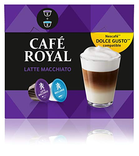 Café Royal Latte Macchiato 48 Nescafé Dolce Gusto kompatible Kapseln, 3er Pack (3 x 16 Kaffeekapseln) Teekanne 8 Cup