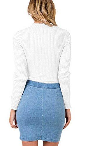 La Vogue Body Combinaison Tricot Manche Longue Col V Collier Femme Haut Blanc