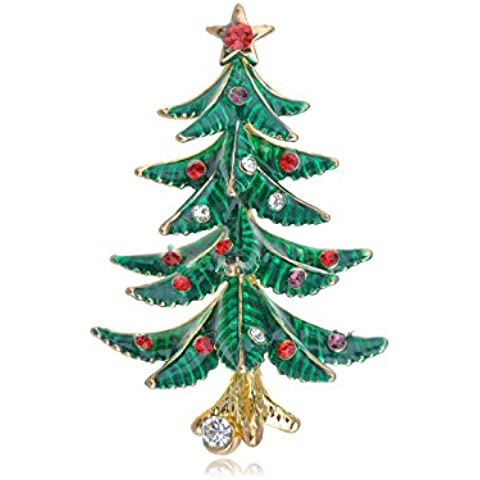 Crystal Rhinestone verde esmalte rojo tamaño pequeño árbol de Navidad Vacaciones Pin Broche