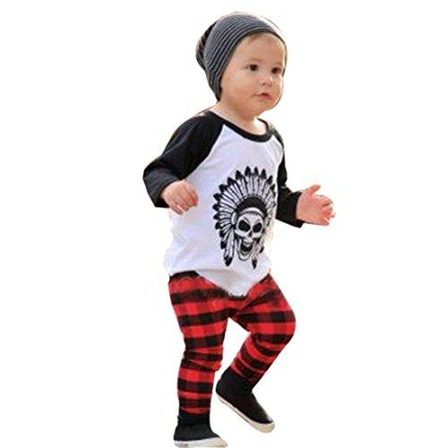 Sannysis Baby Jungen T-shirt Oberteile + Hosen Kleidung (80, weiß)
