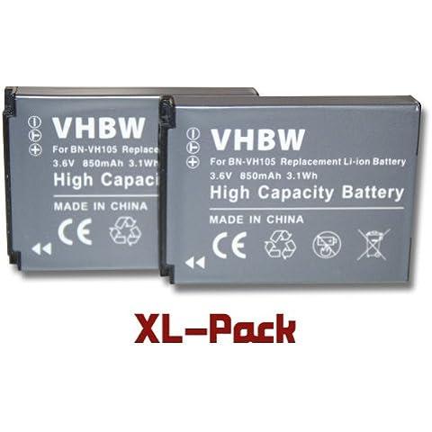 Set 2 x baterías vhbw 850mAh (3.6V) para cámaras JVC ADIXXION, ADIXXION Action, GC-XA1, GC-XA1BUS sustituye JVC
