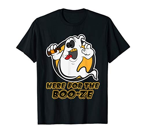 Funny Halloween Gespenst Here for the Booze Damen Herren  T-Shirt (Blaue Haare Hexe Halloween)