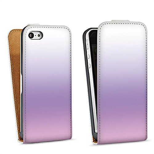 Apple iPhone 5s Housse étui coque protection Lilas Sac Downflip blanc