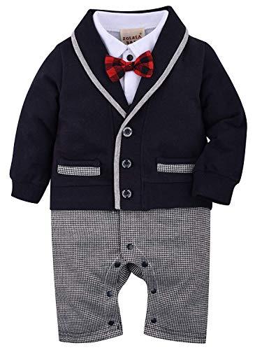 ZOEREA 1pcs bébé Gentleman Romper Costumes Costume de Smoking avec Noeud Papillon pour Le baptême...