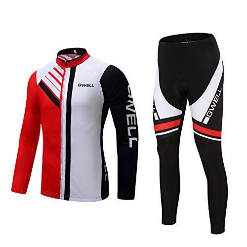 Gwell Homme Maillots de Cyclisme Vélo VTT Vêtements Veste Manches Longues Pantalons Séchage Respirant Hiver