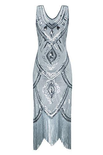 Metme Damen 1920er Jahre Inspiriert Klassischen V Ausschnitt ärmellose Perlen Pailletten Great Gatsby Kleid Partei Kleidung