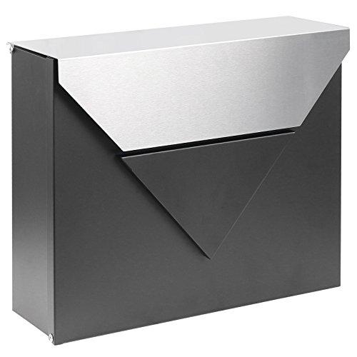 Hartleys cassetta postale da parete esterni - corpo nero con coperchio in acciaio satinato