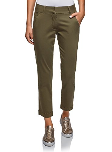 Oodji ultra donna pantaloni chino in cotone, verde, it 44 / eu 40 / m