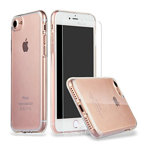 Iphone 7 Hülle Case + Panzerglas,ILUXUS® iphone 7 Schutzhülle iphone 7 Hülle Case Cover Ultra-Transparente felxible TPU Silikon Handyhülle Hülle mit Anti-Rutsch Kratzfest Crystal Hülle-iPhone 7 Hülle + Panzerglas