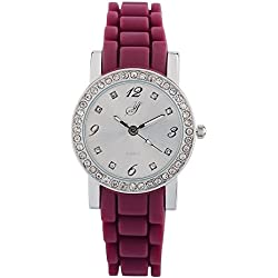 Yellow Stone l126-17-San Francisco-Ladies Watch-Analogue Quartz-White Dial-Silicone Wristband (Purple)