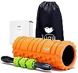 IUGA Rodillo de Espuma y Palo de Masaje 2 en 1 - Masaje Muscular de Tejido Profundo, Terapia de Puntos de activación - Rodillo Muscular para Ejercicios, Yoga y Pilates, Naranja