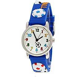 Pure Time Children's Boys Girls Watch Silicone Watch Football in Blue including Watch Box