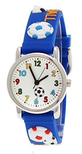Pure Time Kinderuhr Kinder Jungen Mädchen Silikon lernuhr Armband Uhr mit 3D Fußball Motiv in Blau inkl. Uhrenbox