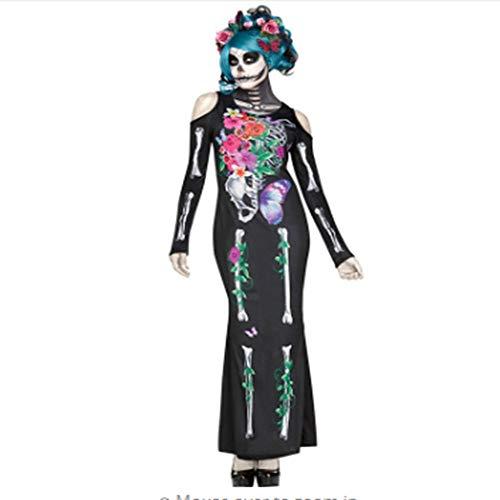 WHFDRHWSJFZ SportingGoods Prom Halloween Kostüm SkeletonAdult Frauen Halloween Dead Day Anzug Damen Braut Long Sleeves Schwarz Scary Skeleton Schädel Joker Cosplay Kleid Plus Größe M-XL, M (Joker Kostüm Schwarz Anzug)