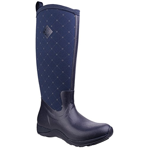 Muck Womens Arctic Adventure Prints Rubber Boots Navy Quilt