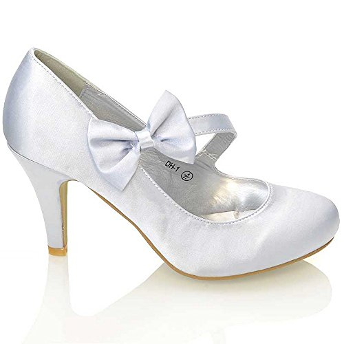 Essex Glam - Damen Braun Stiletto Pumps Weiß Elfenbein Satin Hochzeit Brautjungfer Schuhe Silber Satin